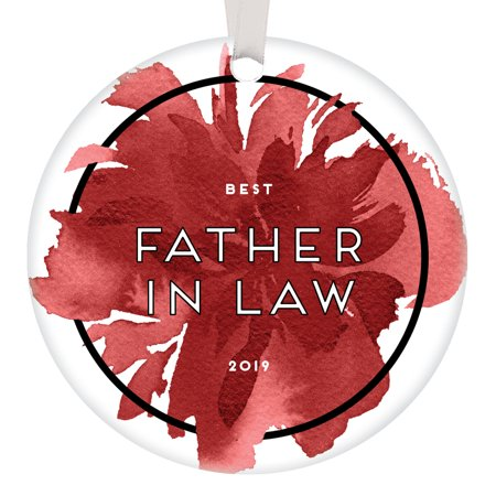 Best Father In Law 2019 Christmas Ornament Family Gift Idea Parent Daughter Son Wedding Marriage Anniversary Celebration Holiday Present Dad Engagement Keepsake Red Watercolor 3