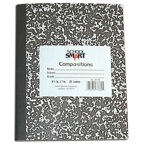 "School Smart Hard Cover Marble Back Composition Book, 9.75"" x 7.5"", 60 Sheets"
