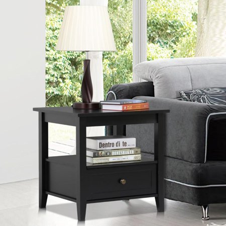 Yaheetech Side End Table Accent Table with Drawer and Shelf, Black