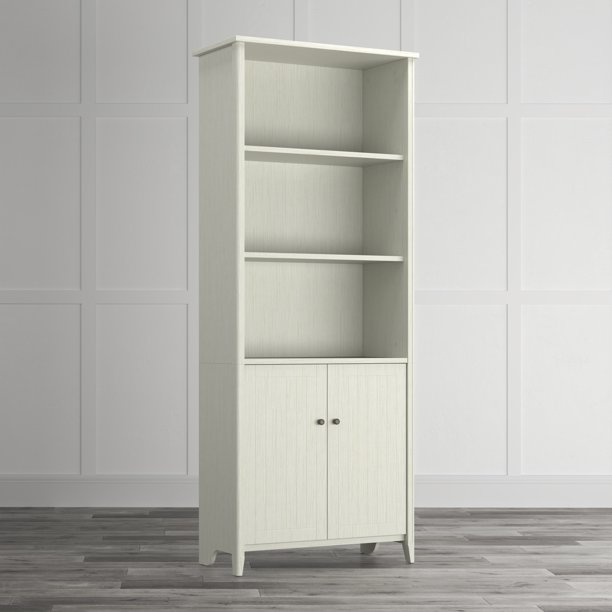 Quarters & Craft High Tide Collection Home Office Library Bookcase, in Weathered White (QCLIBBWH)