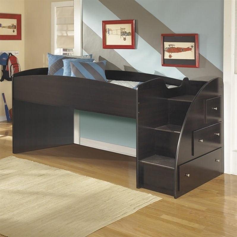 Ashley Embrace 3 Drawer Wood Twin Right Loft Bed In Merlot Walmart Com Walmart Com