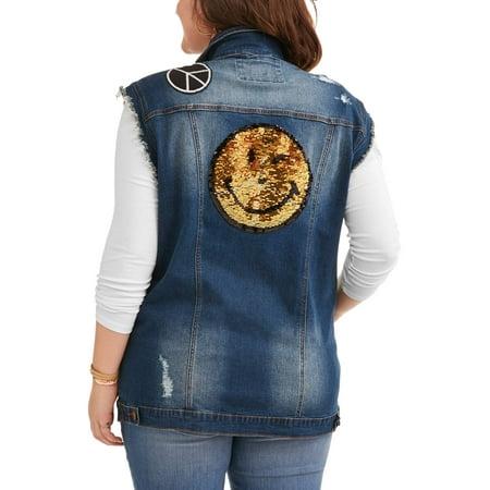 Juniors' Plus Size Reverse Sequin Denim Vest