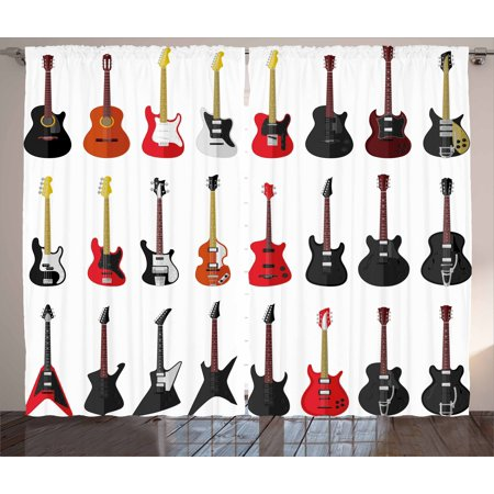 Guitar Curtains 2 Panels Set, Musical Instruments Set Pattern with Various Acoustic Bass Making Music, Window Drapes for Living Room Bedroom, 108W X 84L Inches, Vermilion Black White, by Ambesonne (Instrument Panel Saitek)