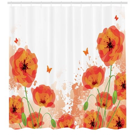 Poppy Shower Curtain Digital Watercolors Design Of Authentic Classic Botany Bouquet Patterns Print Fabric Bathroom Set With Hooks Red White
