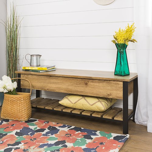 Gracie Oaks Savon Open-Top Wood Storage Bench