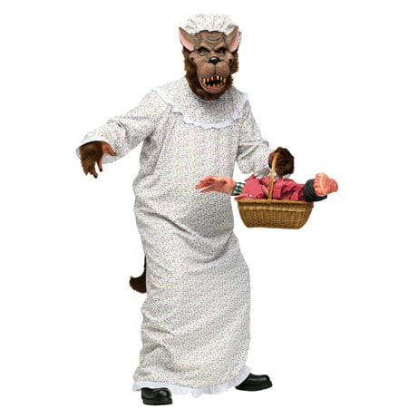 Big Bad Granny Wolf Adult Halloween Costume - One Size](Big Bad Wolf Mens Costume)