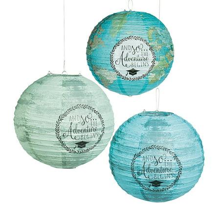 Grad Adventure Paper Lanterns - Party Decor - 6 Pieces