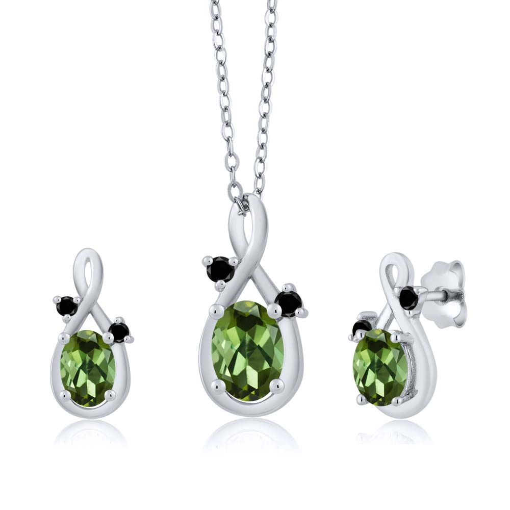 1.80 Ct Oval Green Tourmaline 14K White Gold Pendant Earrings Set by Tourmaline Sets