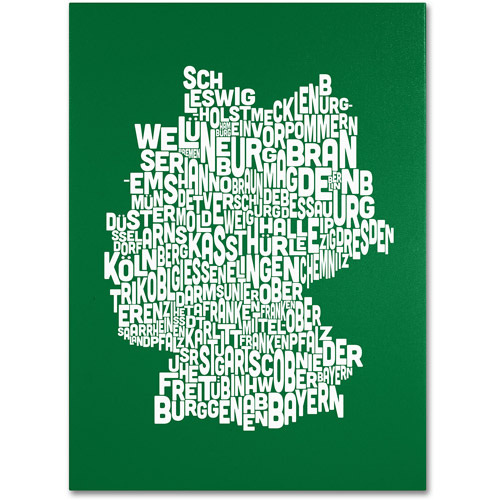 Trademark Art 'FOREST-Germany Regions Map' Canvas Art by Michael Tompsett