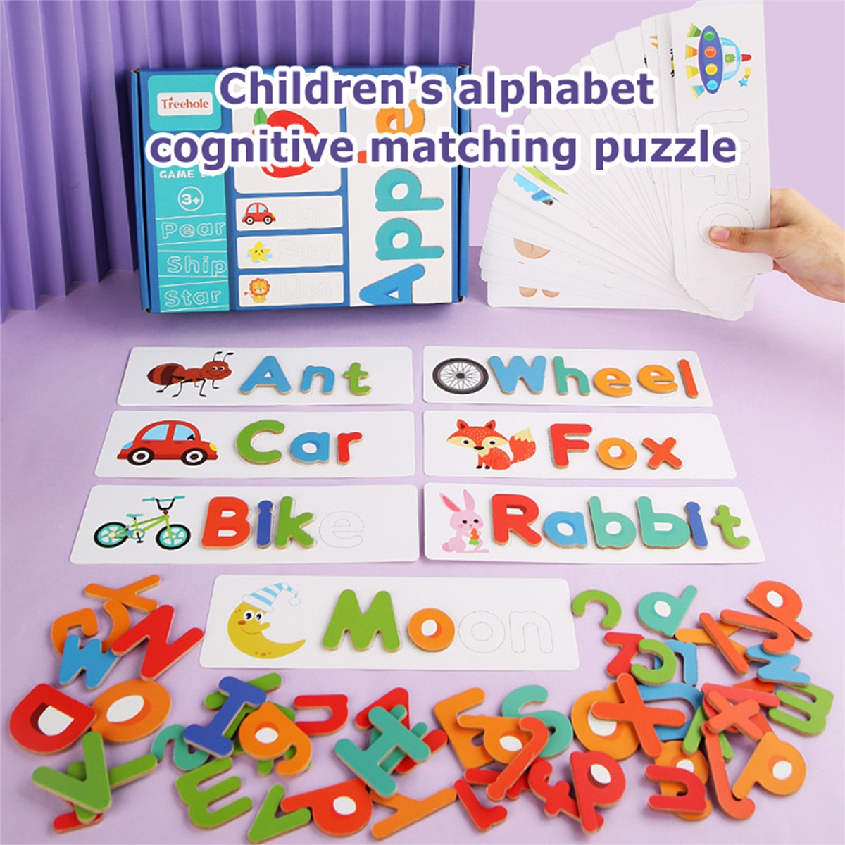 DC-JU See and Spelling Learning Toy Wooden Letter ABC Games Toys Develops Alphabet Words Spelling Skills Letter Block for 2 3 4 5 Year Old Boy//Girl Birthday Gift Toys for 2 3 4 5 Year Old Boys//Girls