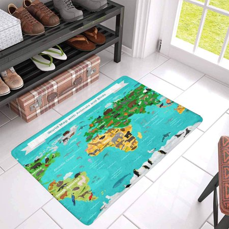 POP World Map with Animals and Birds Indoor Doormat 30x18 Inches Non Slip Front Entrance Door Mat Rug - image 1 of 3