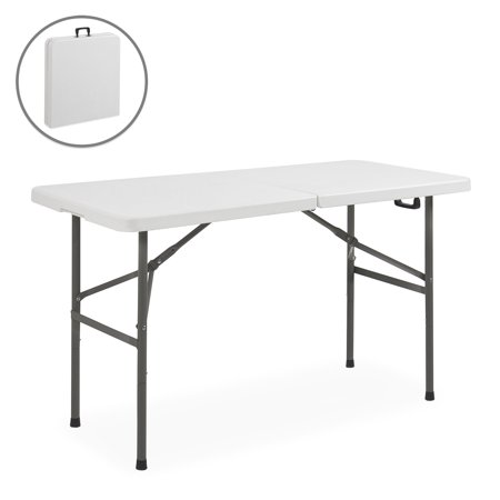 Best Choice Products 4ft Indoor Outdoor Portable Folding Plastic Dining Table for Backyard, Picnic, Party, Camp w/ Handle, Lock, Non-Slip Rubber Feet, Steel (24 Round Granite White Plastic Folding Table)
