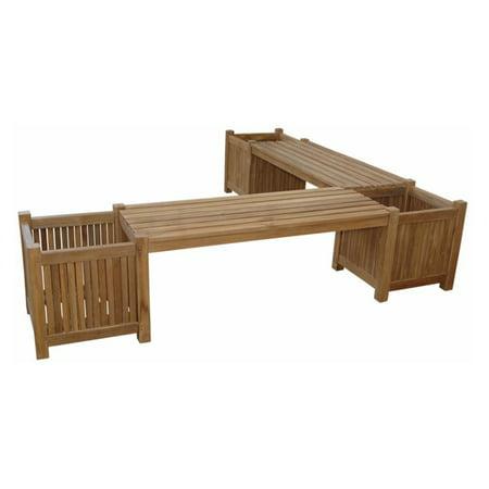 Anderson Teak Outdoor 6.83 ft. 5 Piece Planter Bench