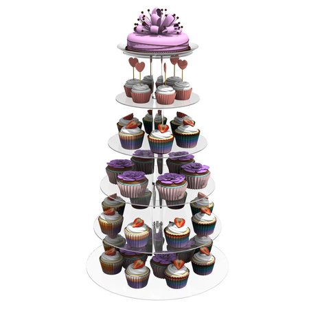 6 Tier Cup Cake Stand New Acrylic Round Transparent Cake Stand For Wedding Party Birthday Display