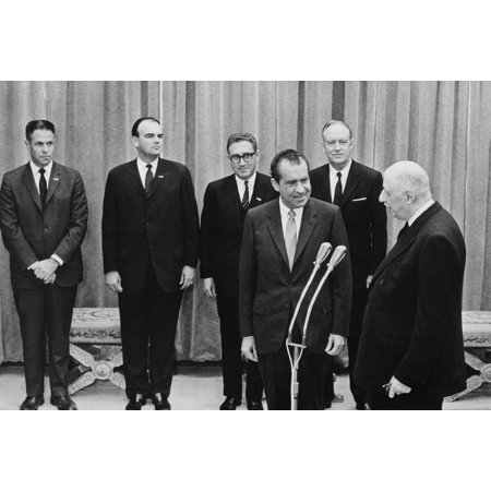 President Nixon And His Key Advisors With French President Charles Degaulle Of France On Feb 28 1969 L To R H R Haldeman John Ehrlichman Henry Kissinger Richard Nixon William Rogers Charles Degaulle H