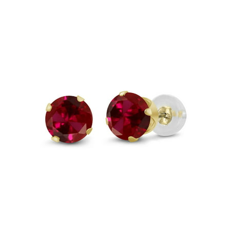 - 0.50 Ct Round 4mm Red Created Ruby 14K Yellow Gold Stud Earrings