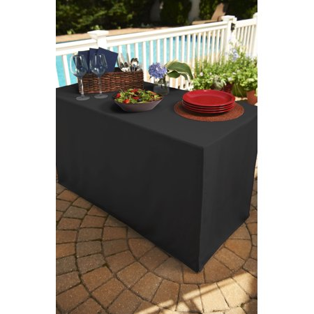 4 foot black folding table tablecloth heavy fabric split corners to the floor length. Black Bedroom Furniture Sets. Home Design Ideas