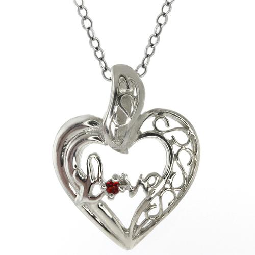 Round Red Garnet Sterling Silver Heart Shape Love Pendant With Chain