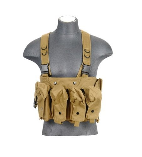 Lancer Tactical CA-308K AK Airsoft Chest Rig w  Dual Mag Pouches (Tan) by Velocity Airsoft