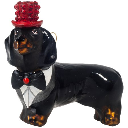 Black Dachshund with Crystal Top Hat and Tails Polish Glass Christmas Ornament