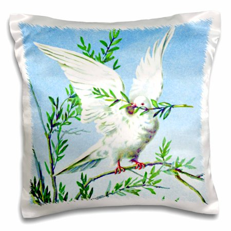 3dRose White dove with green olive branch of peace in mouth against blue sky - vintage bird painting print - Pillow Case, 16 by - Olive Birds