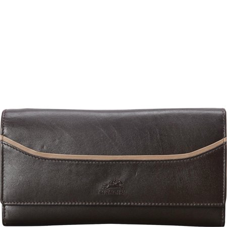 Mancini Burgundy Leather (Mancini Gemma Ladies' RFID Trifold Clutch Wallet)