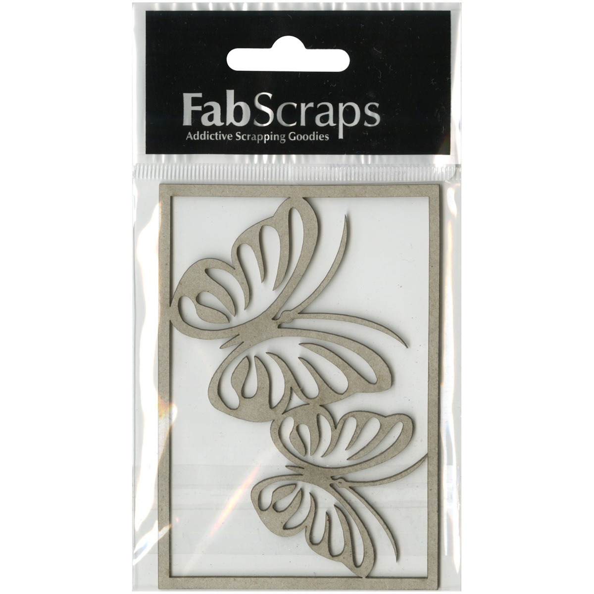 "FabScraps Kaleidoscope Die-Cut Gray Chipboard Shape-Butterflies, Up To 2""X2"" 2/Pkg"