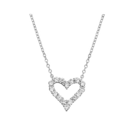Sterling Silver Open Heart Pendant Necklace with Jewelry Gift (Heart Pendant Silver Jewelry)