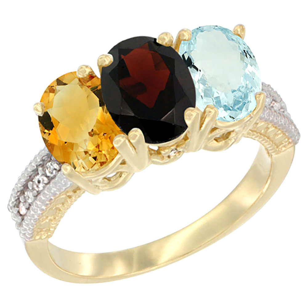 10K Yellow Gold Diamond Natural Citrine, Garnet & Aquamarine Ring 3-Stone 7x5 mm Oval, sizes 5 10 by WorldJewels