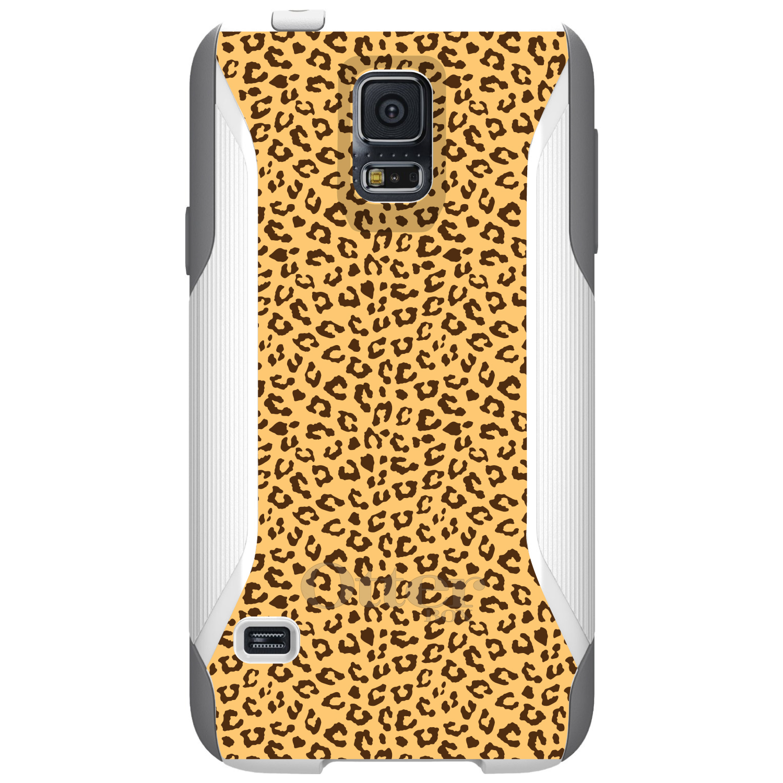 DistinctInk™ Custom White OtterBox Commuter Series Case for Samsung Galaxy S5 - Beige Tan Brown Cheetah Skin Spots