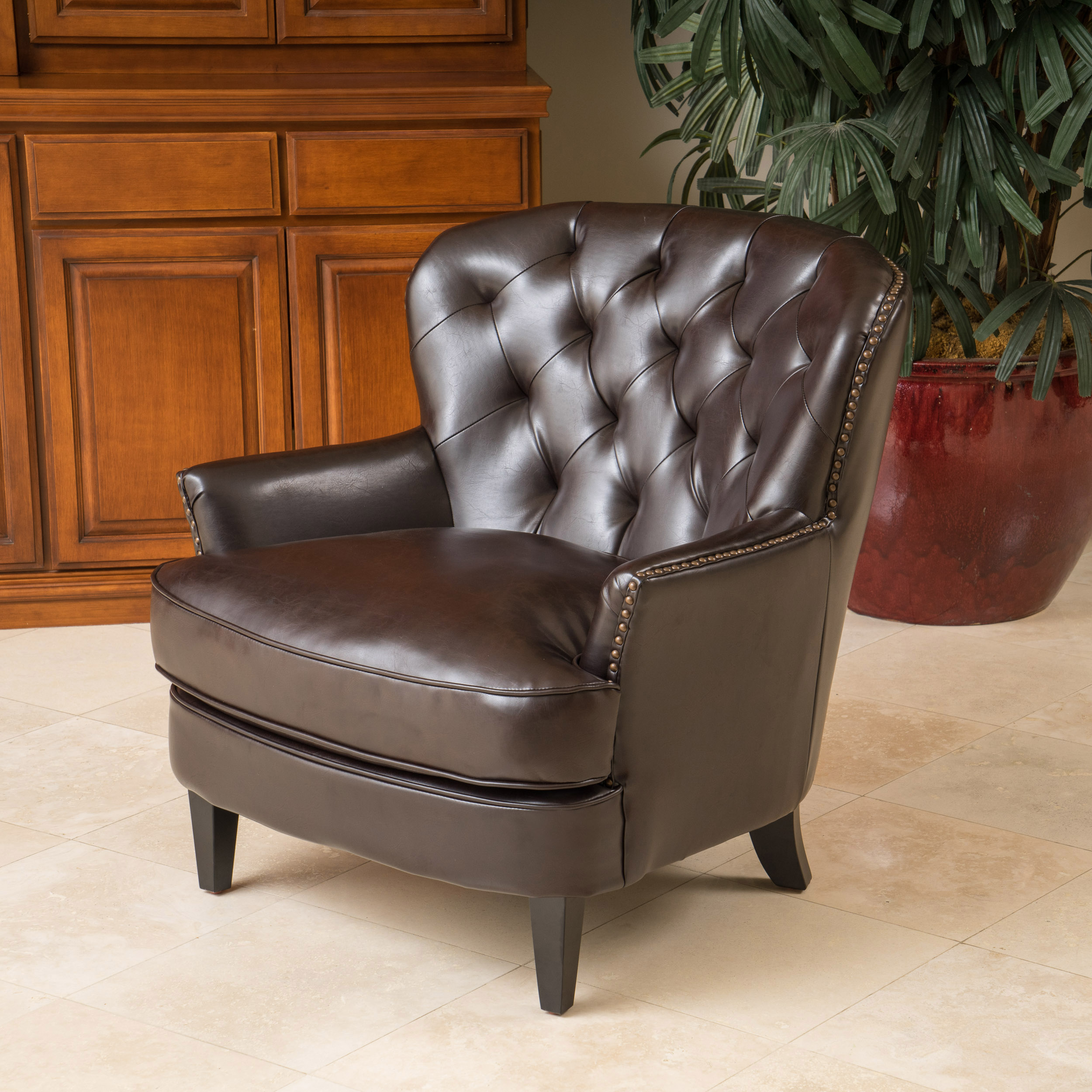 Noble House Brandy Diamond Tufted Club Chair, Brown
