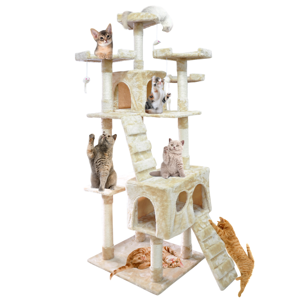 71 Inch Heavy Duty Cat Scratching Post Tree Gym House Condo Furniture Scratcher Cream by