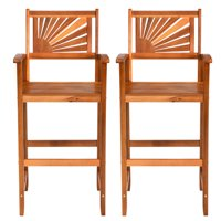 Set of 2 Acacia Wood Outdoor Patio Bar Stool with Footrest&Backrest&Armrest