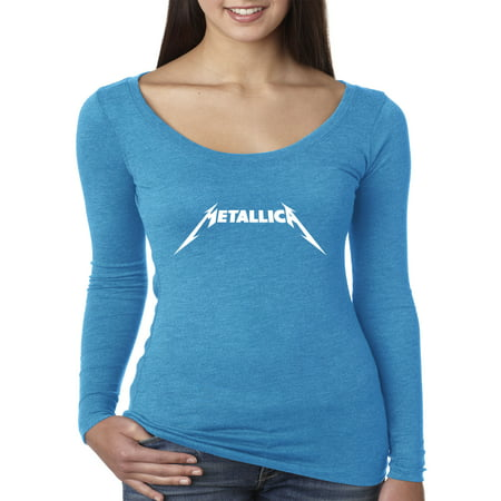 New Way 925 - Women's Long Sleeve T-Shirt Metallica Metal Rock Band Logo XL Turquoise