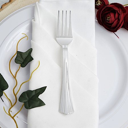 BalsaCircle 25 pcs 7.25-Inch Silver Disposable Plastic Party Forks Wedding Home Reception Catering Silverware Discounted Supplies