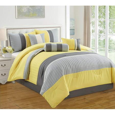 7 Piece Bed in Bag Microfiber Luxury Comforter Set, California King, Bright Yellow ()