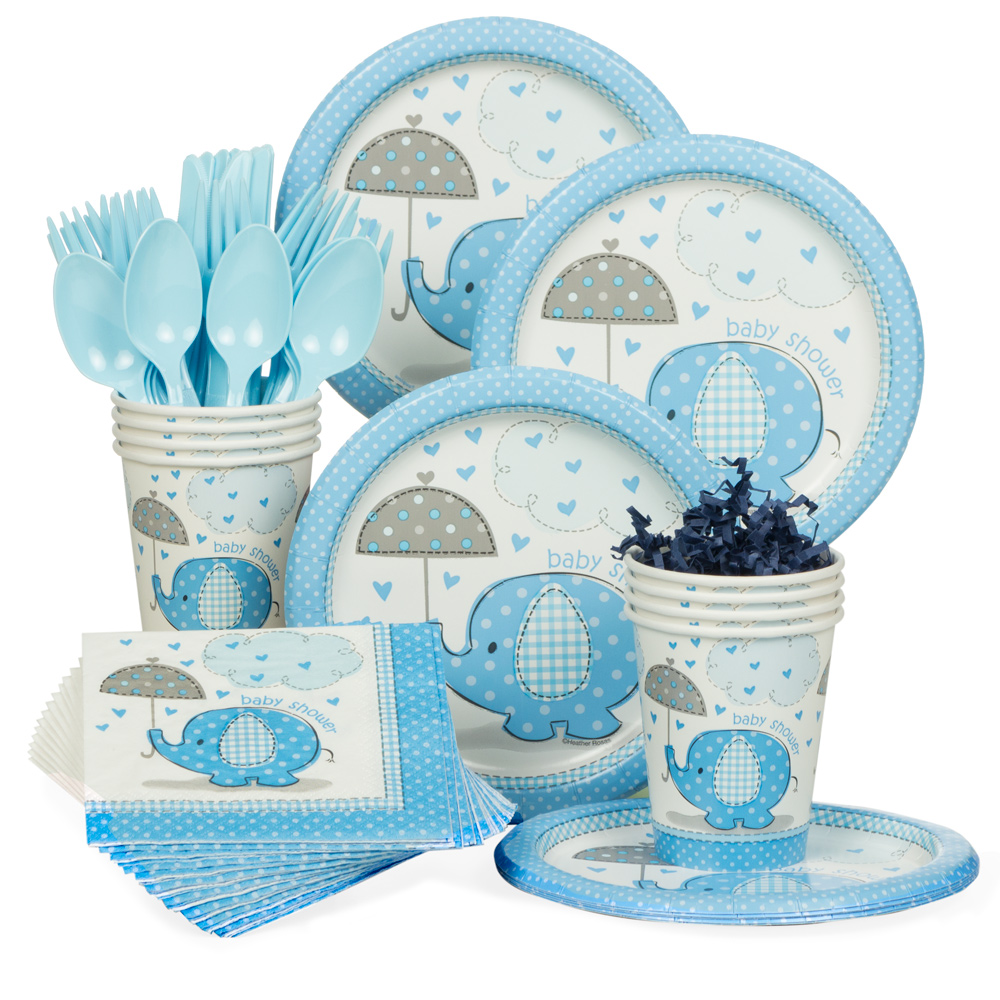 umbrellaphants blue baby shower standard tableware kit serves, Baby shower invitation