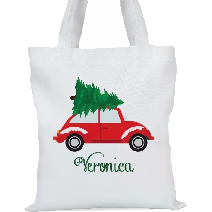 "Christmas Tree Car Personalized Tote Bag, Small: 11"" x 11.75"" or Large: 14.5"" x 16"""