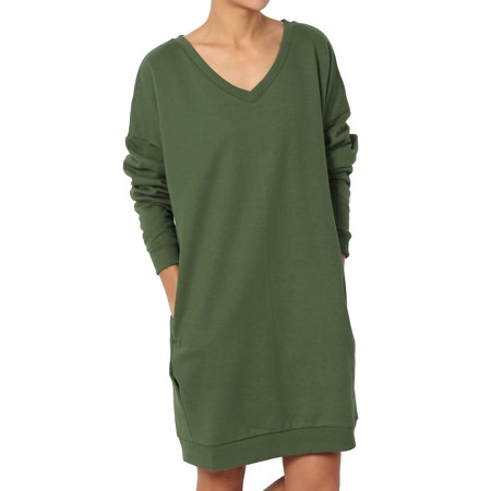 - TheMogan Women's S~3X V-Neck Long Sleeve Pocket Oversized Sweatshirts Pullover Tunic