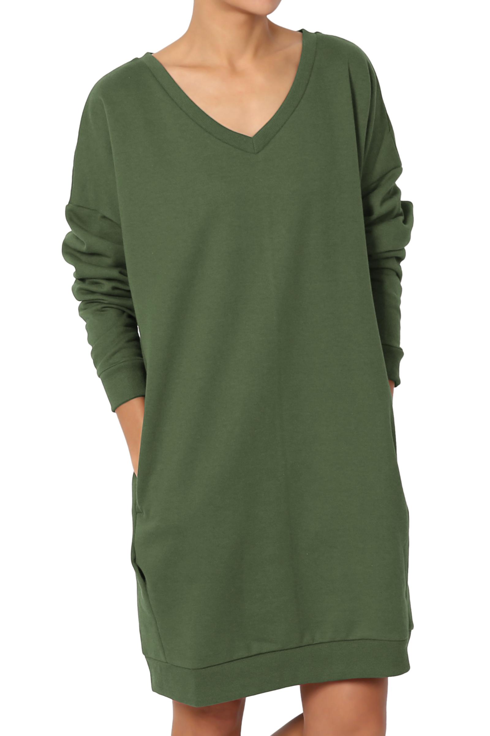TheMogan Women's S~3X V-Neck Long Sleeve Pocket Oversized Sweatshirts Pullover Tunic