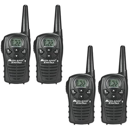73248e87ae7 Walkie Talkie 4 PACK Midland LXT118 Two Way Radio Hands Free eVox 18 Mile  22 Channel - Walmart.com