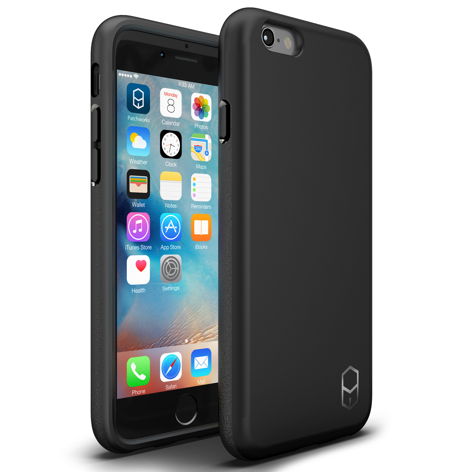 iPhone 6s 6 Case, Patchworks ITG Level Case in [Black] Rough Side Texture Grip Drop Protection Anti-Fingerprint Matte Surface Slim Fit Solid Case for iPhone 6s 6