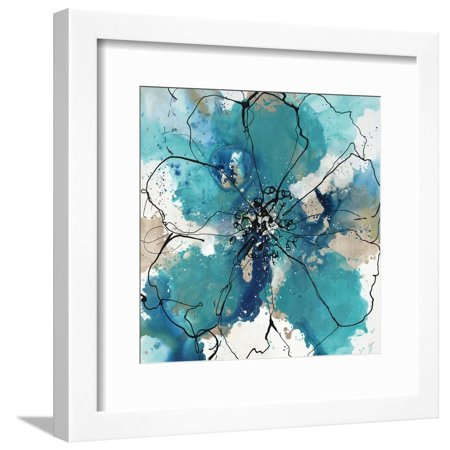 Allure Framed Art - Allure IV Abstract Bohemian Flower Blue Floral Framed Print Wall Art By Rikki Drotar