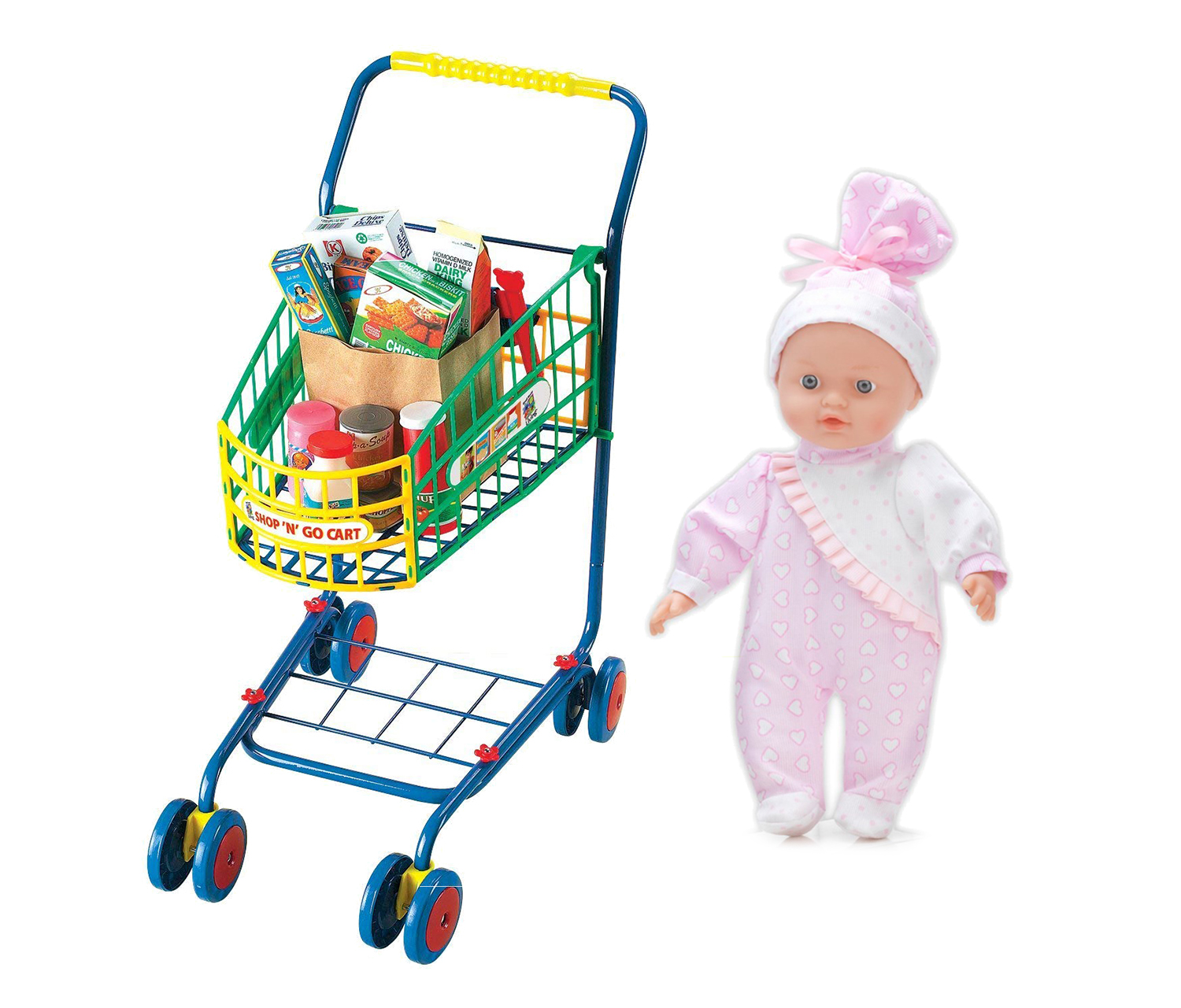 Mozlly Small World Toys Living Shop N Go Shopping Cart (10pc Set) and Mozlly Small World Toys All About Baby... by Small World Toys