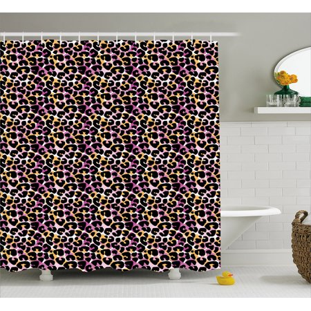 Leopard Print Shower Curtain Abstract Wild Exotic Animal Skin Pattern In Artistic Style With Vibrant