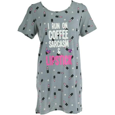 Size Small Junior's Short Sleeve Novelty Night Shirt, Grey ()