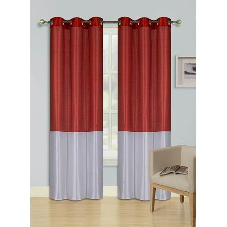 1pc RED WHITE HEIDI Faux Silk Drape Panel Top Chrome Metallic Grommet Window Curtain Treatment Drape 2 Shade 37 wide x 95 length