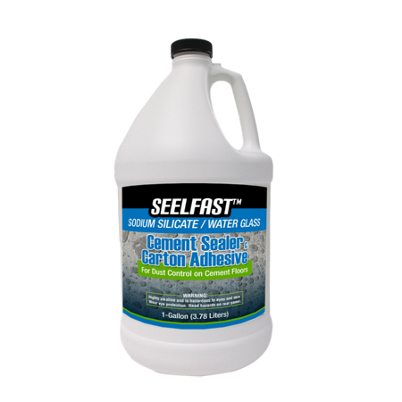 Cement Floors - Seelfast Cement and Concrete Sealer (100% Sodium Silicate / Water Glass) Versatile Floor, Basement | Water Repellent Finish | Full-Strength Adhesive | Made in the USA