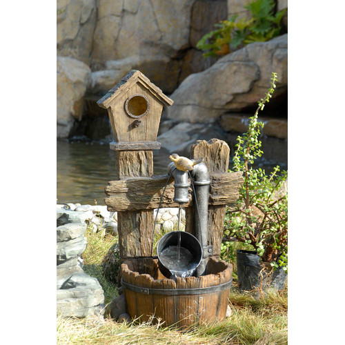 Jeco Inc. Polyresin and Fiberglass Tiered Bird House Fountain