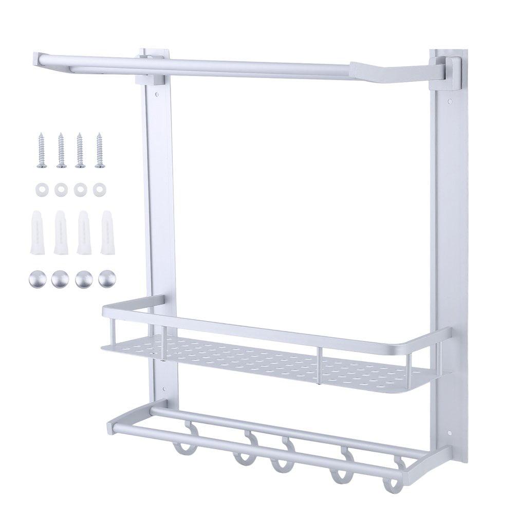 Three-Tier 54CM Aluminum Alloy Wall Mounted Towel Racks Bathroom Shelves Organizer with... by konxa